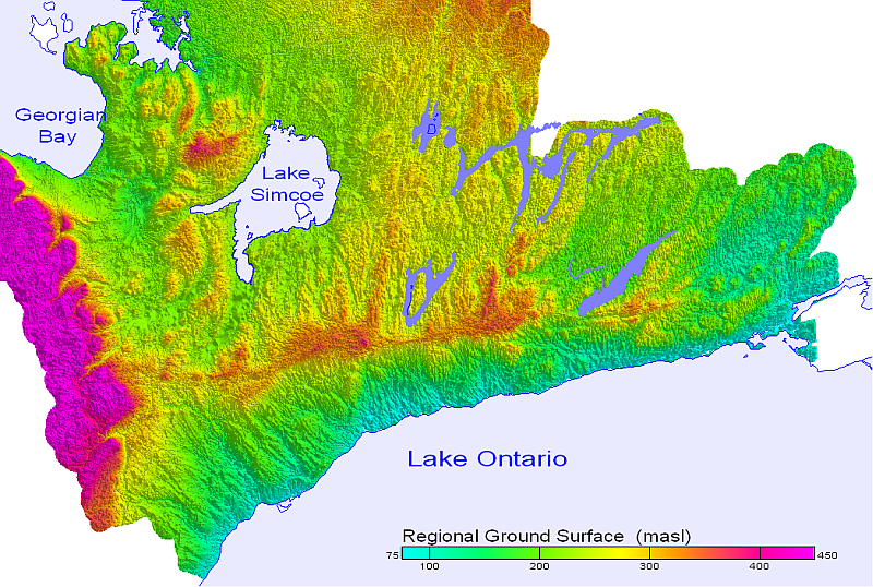 Digital Elevation Model of Oak Ridges Moraine.png